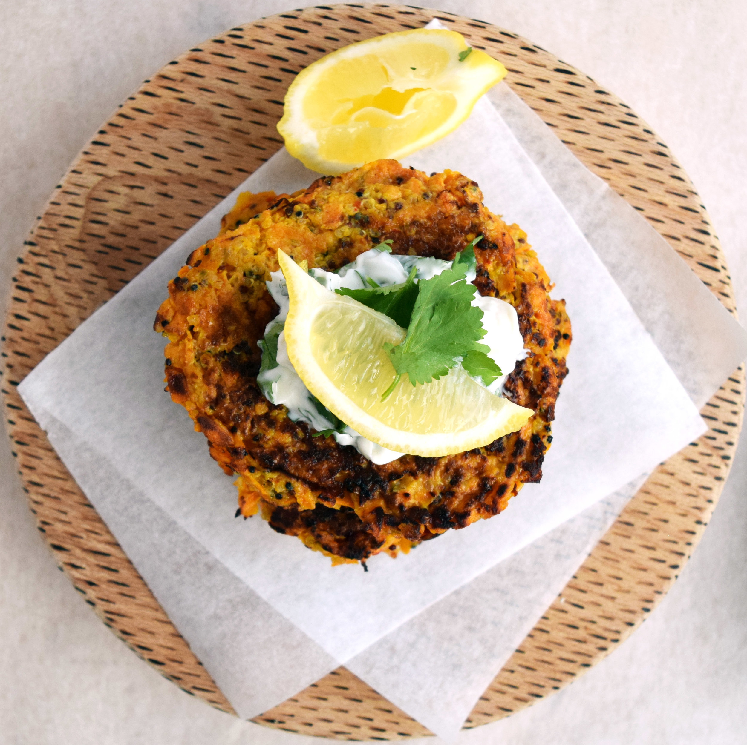 Tasty vegetable and quinoa fritters with lemon herb mayo.