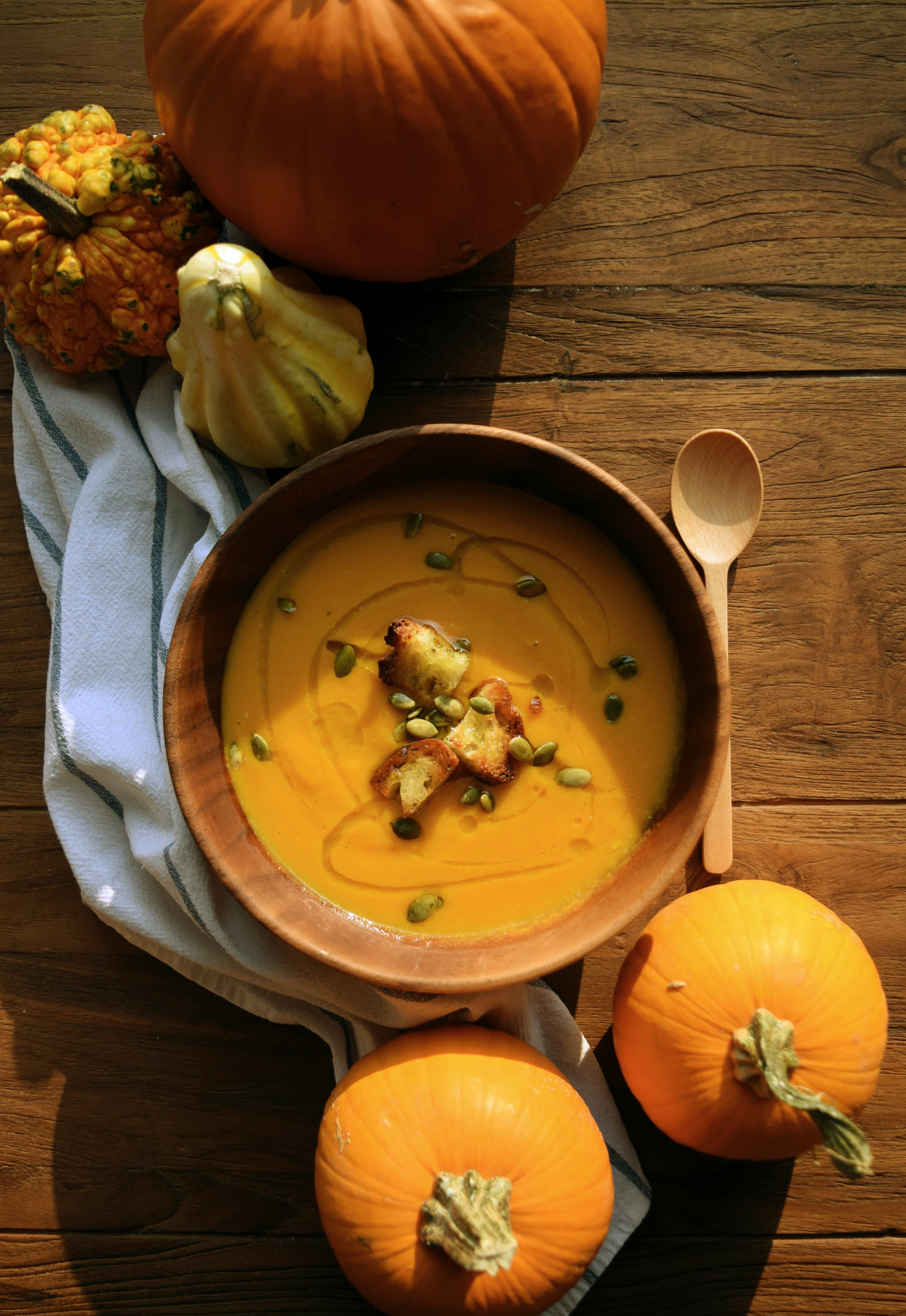 Delicious pumpkin and cheddar soup for cozy autumn days.