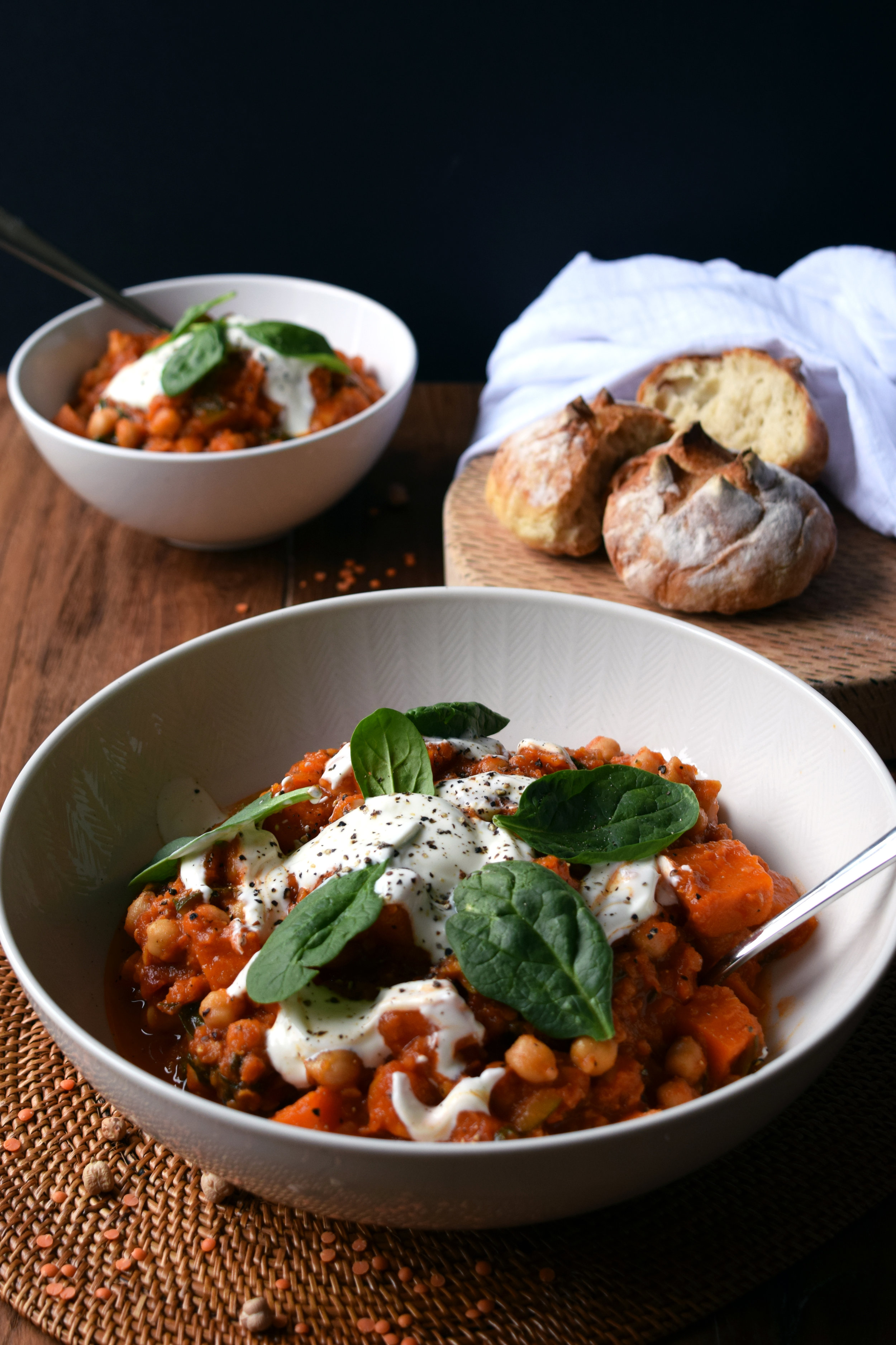 Sweet Potato, Chickpea and Lentil Stew
