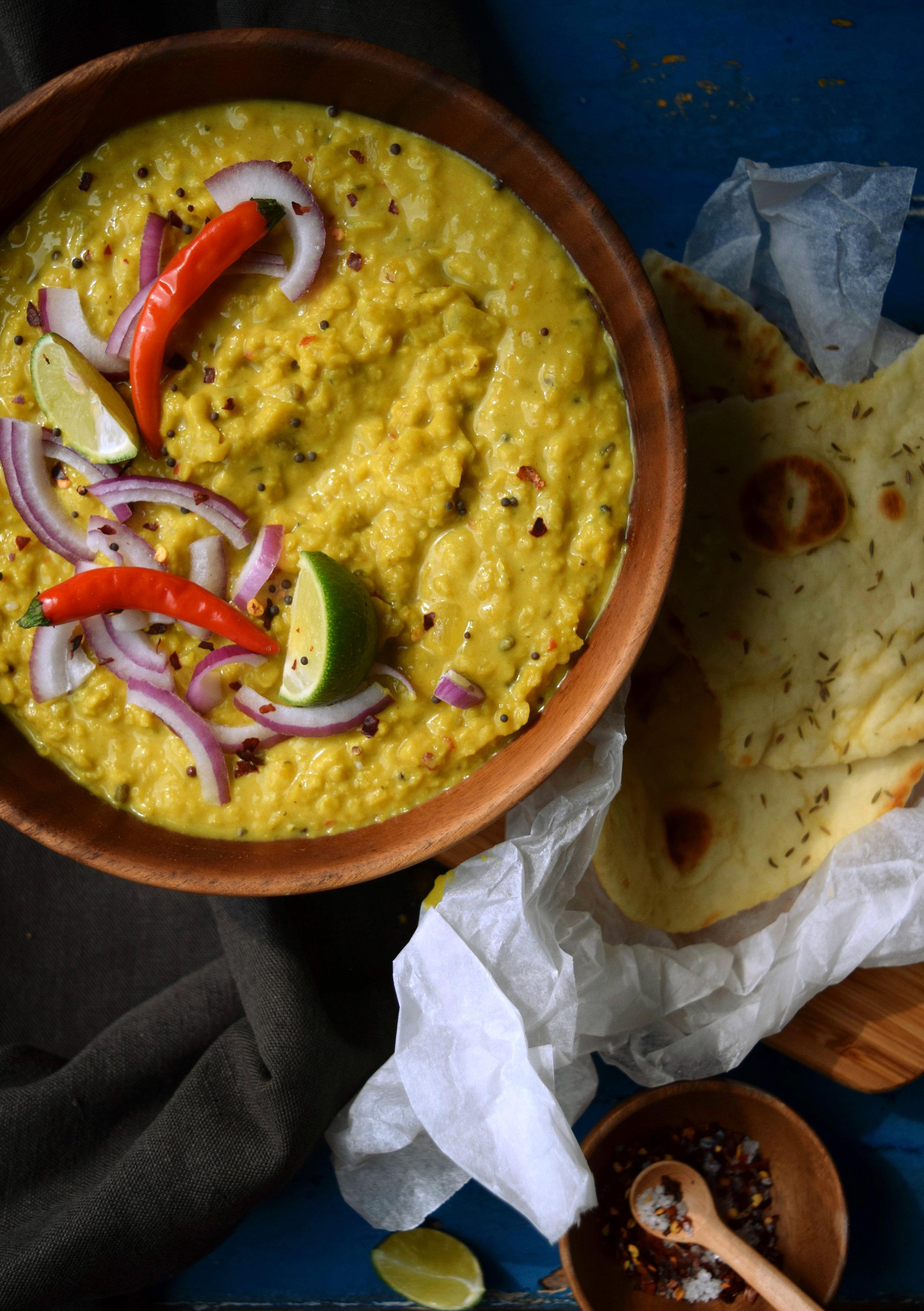 Sri Lankan dhal and flatbreads.