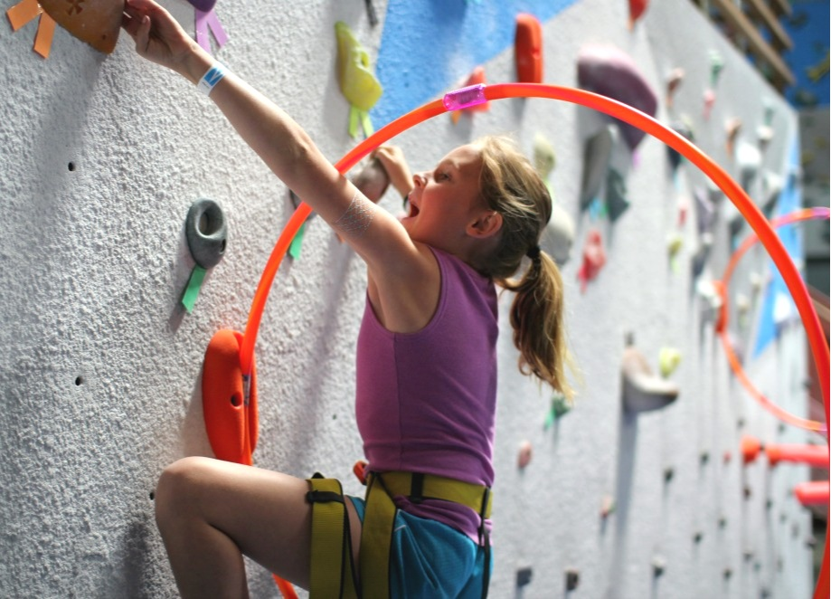 For ages 4-12 we have kid friendly walls, climbs and gear! Vertical Hold staff is available to provide belay lessons for parents and any climbers 13 and older to belay the kids of the group.