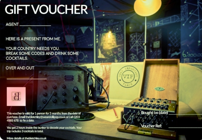The Bletchley Gift Voucher - Give an experience they will never forget£36 pp (includes 3 cocktails and the experience)