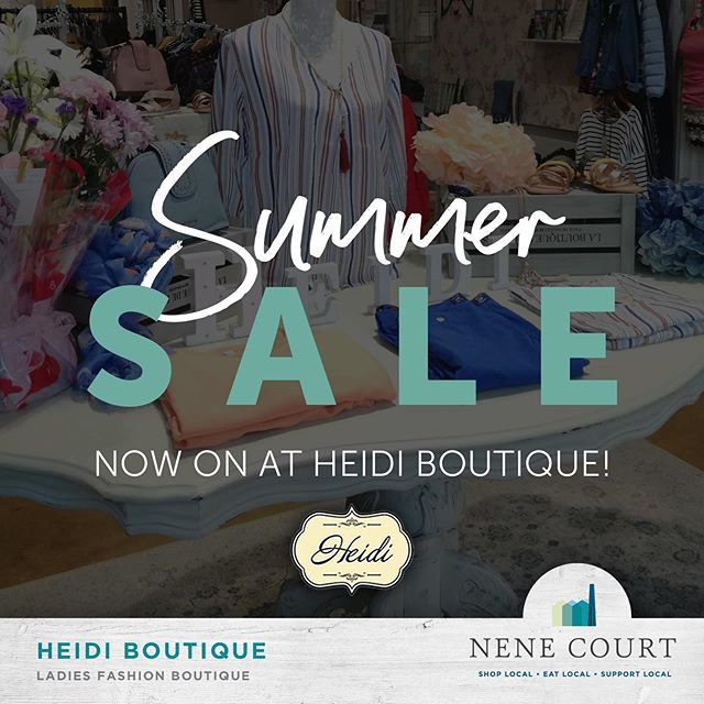 The @heidi_boutique summer sale is now on here at @nenecourtshop with lots of great savings and bargains to be had.  #Shopping #Wellingborough #NeneCourt #Northamptonshire #Unique #Gifts #Fashion #ShopLocal #local #Kettering #Rushden #Northampton #RushdenLakes #ShoppingVillage #LadiesClothes #SmallBusiness #summersale #sale #treatyourself
