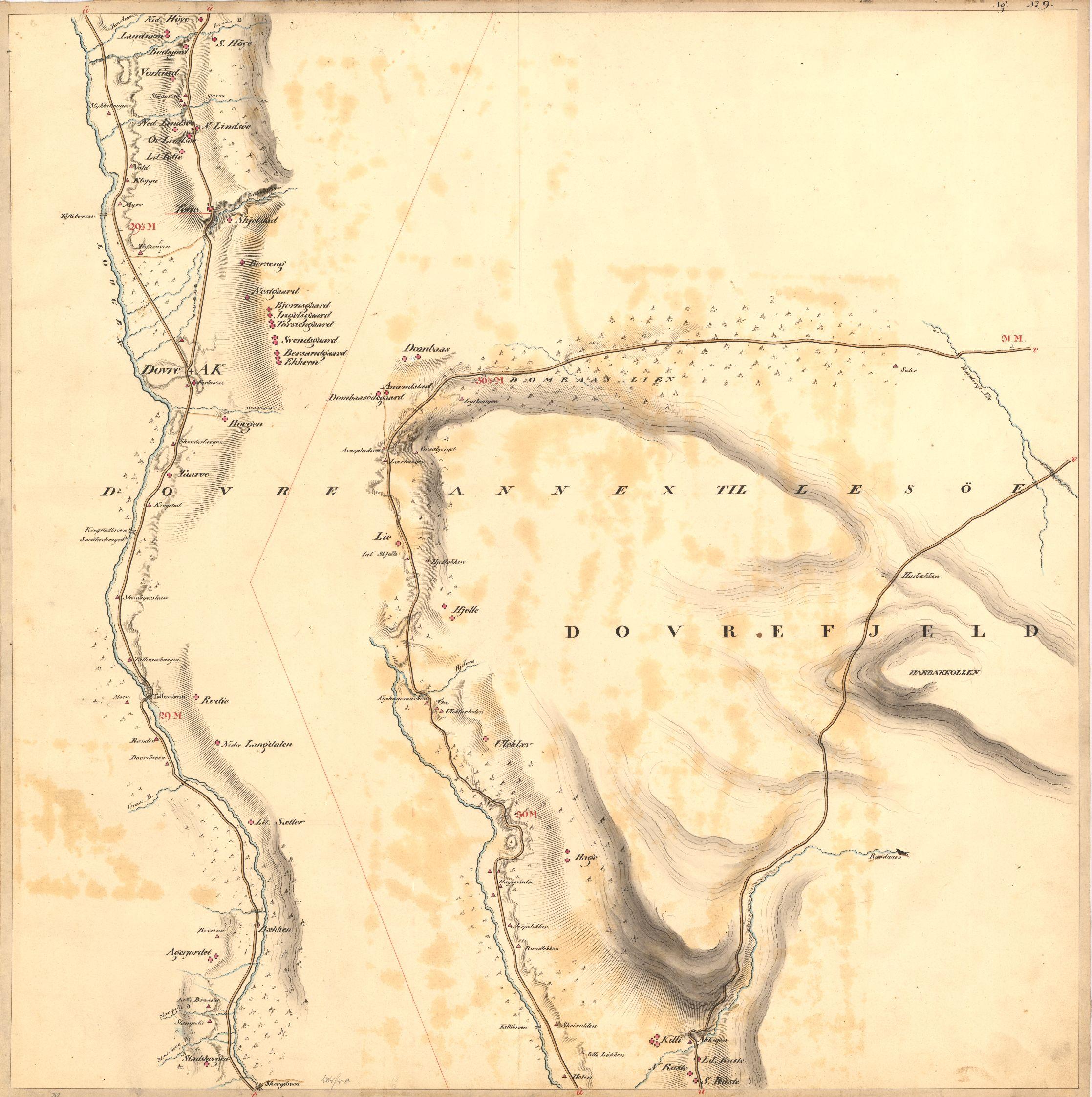 Kartet fra 1820 viser den nye vegtraséen om Dombås og den gamle Kongevegen ved Dovre og over Hardbakken.Kilde: Kartverket, Norge 240 kartblad nr. 9, Reichborn 1820