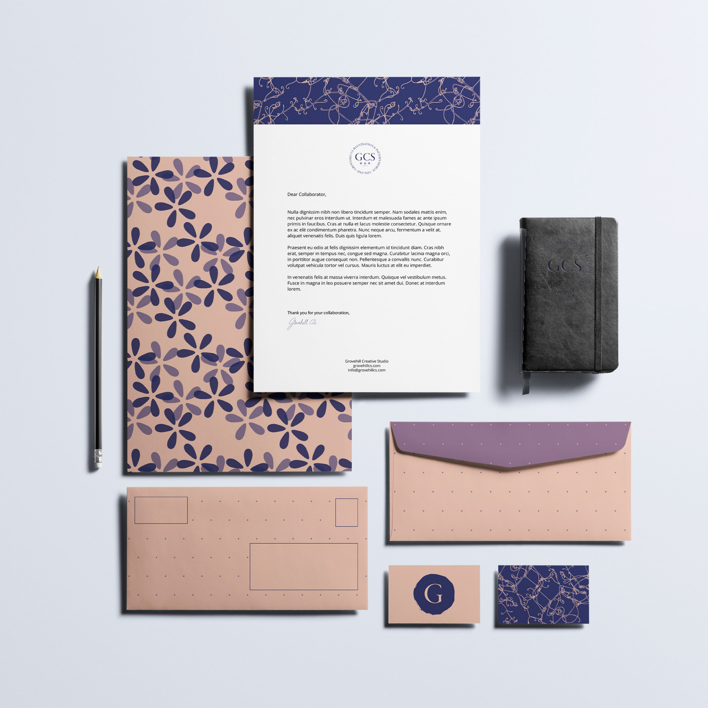 Brand Patterns – Grovehill Creative Studio   A personal project. Holistic brand design for Grovehill Creative Studio.