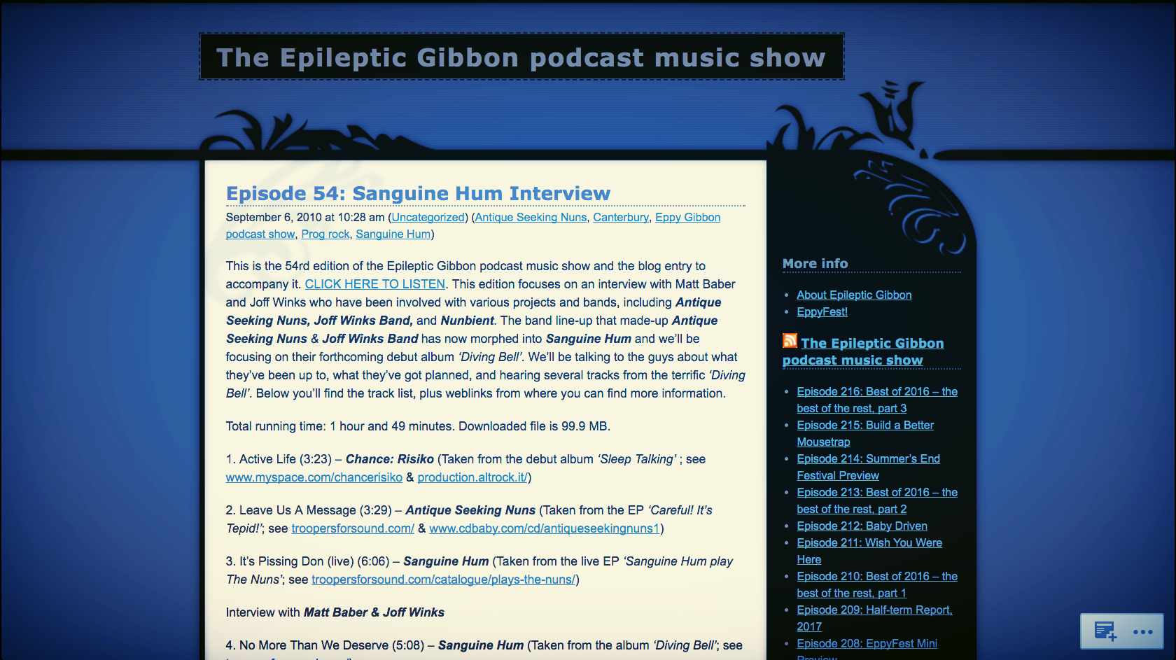 <p><strong>The Epileptic Gibbon Podcast Show</strong>Diving Bell<i></i></p>