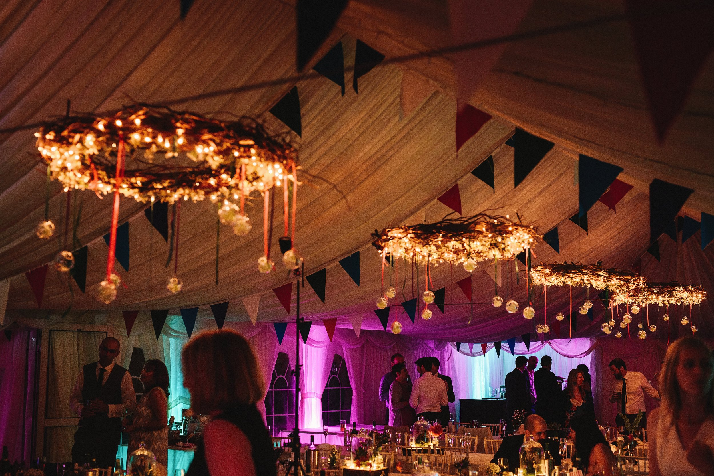 Chandeliers in our wedding marquee at night. Photo by Andy Gaines.  andygaines.com