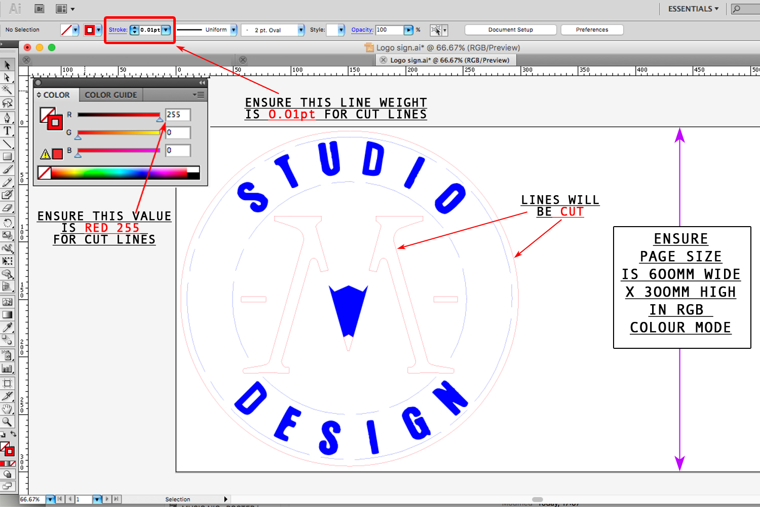 Illustrator file with RGB colour mode on. Lines with RED 255 colour value will be  CUT .