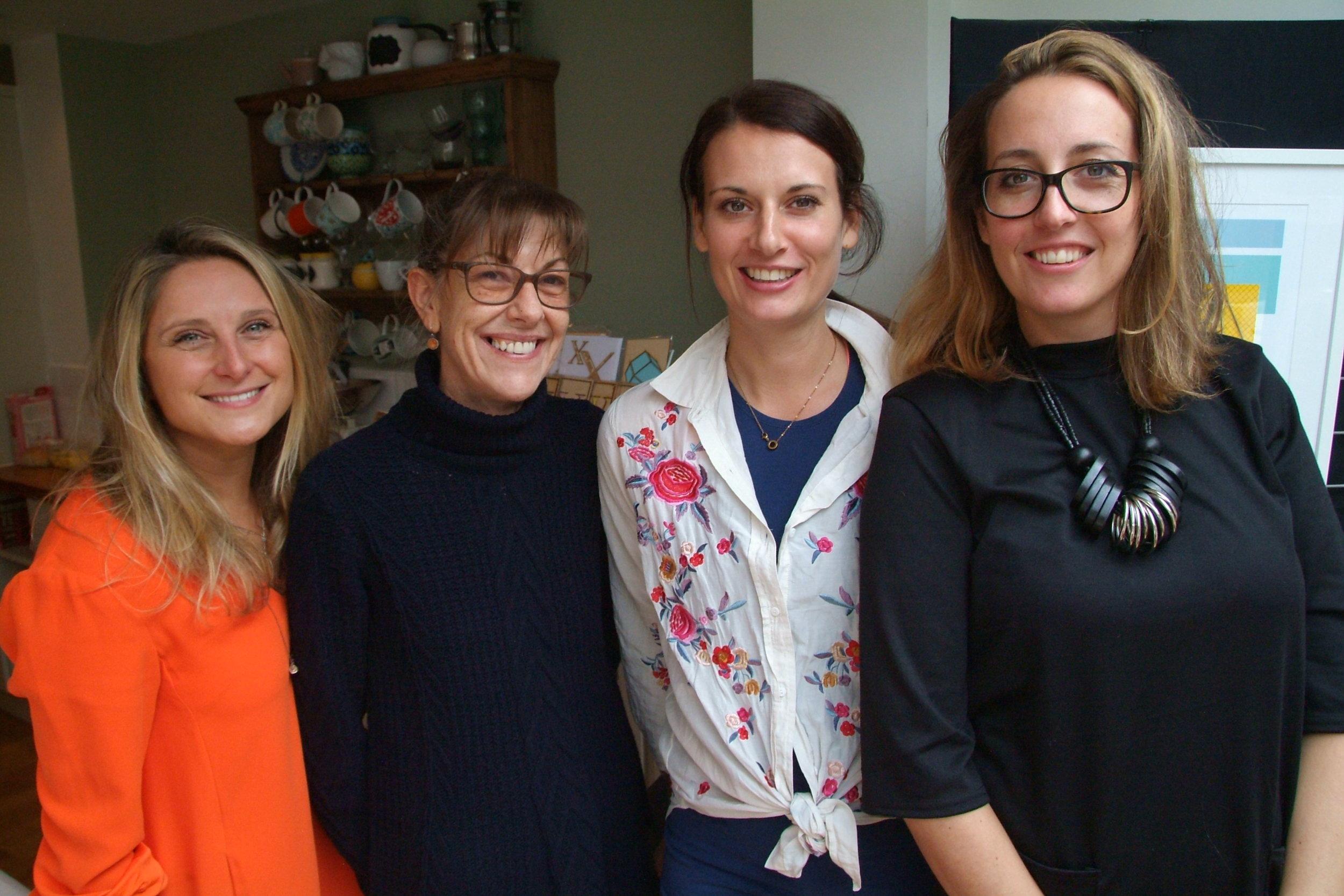 Emma Jayne Emmott (Fine Art Printmaker), Billie Buck (Ceramicist), Michelle Derrick (GingerLine Designs), Emma Goodwin (Studio-M Design)