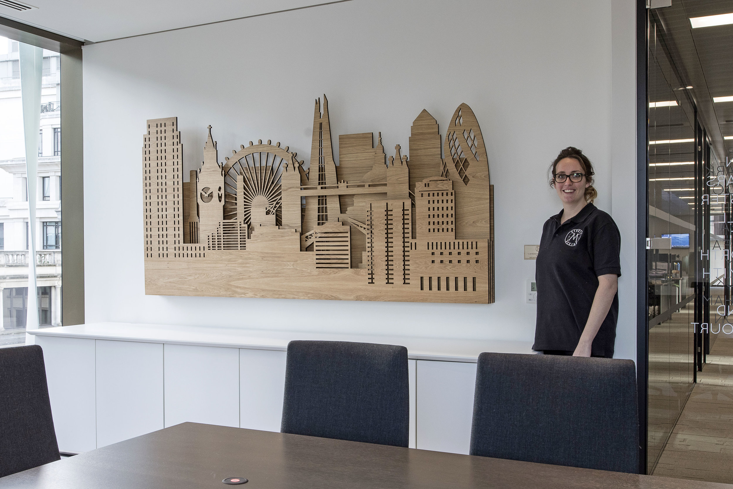Me with the Laser Cut London Skyline piece!