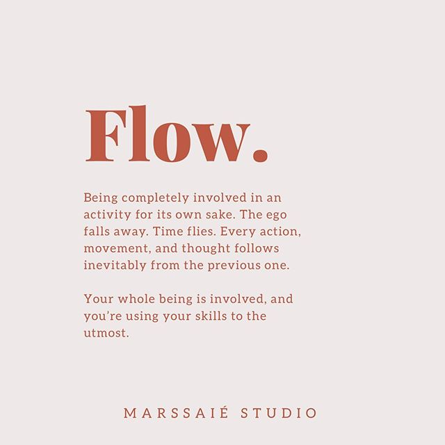 This week has definitely bought about many inspiring conversations surrounding 'Flow'. I can't describe it, but if you know, you know.  #flow