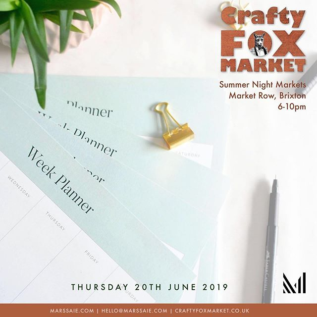 So excited to announce that I will be at the @craftyfoxmarket Summer Night Markets.⠀☺️ -⠀ Catch me there next Thursday 20th !! In Brixton