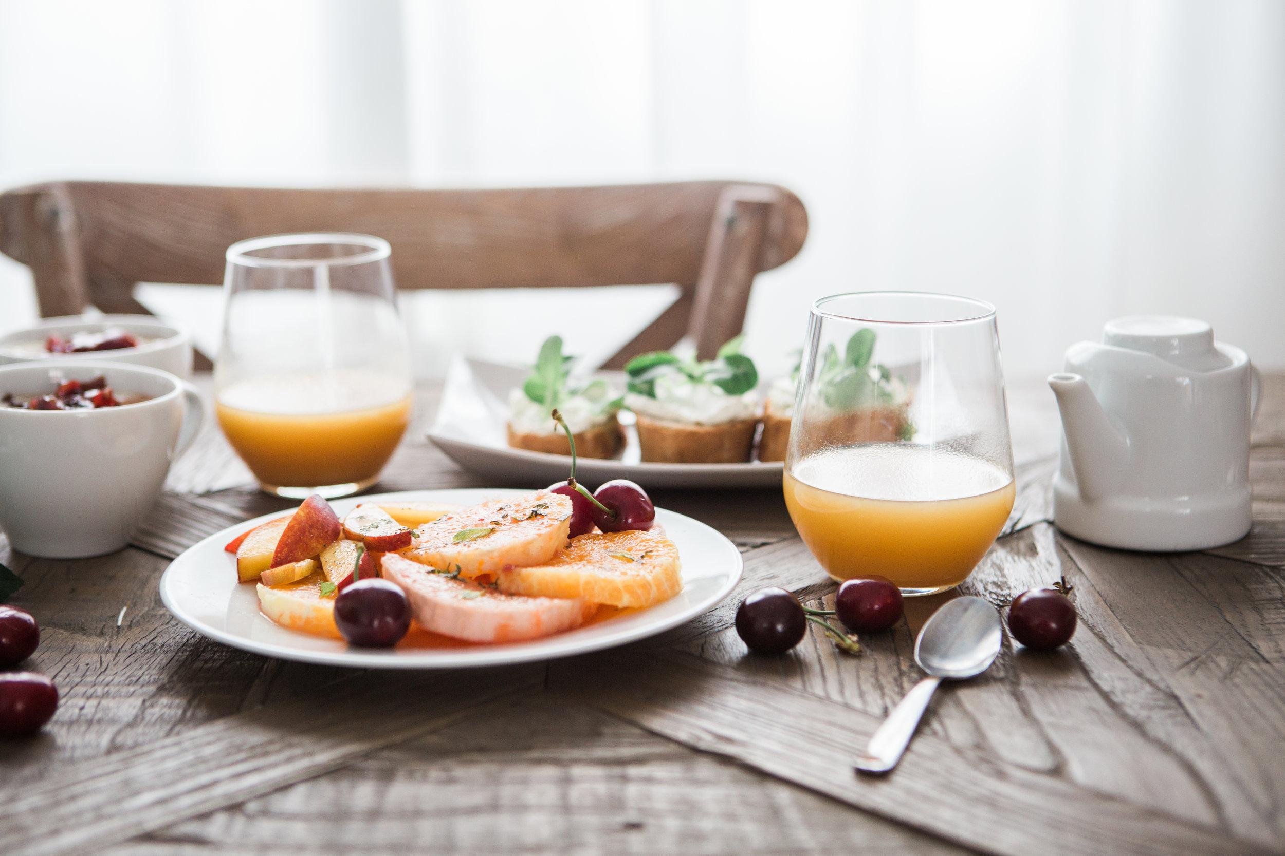 healthy wedding day breakfast