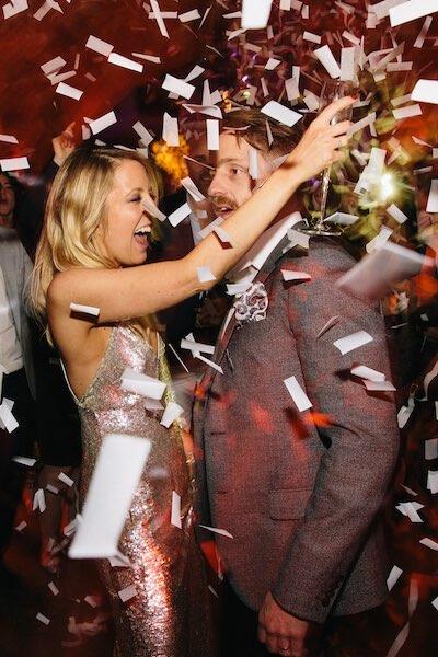 Kachette Old Street London wedding party with confetti
