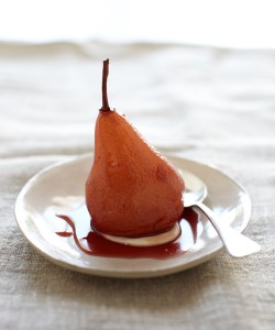 Port Wine-Poached Pear with Brandy