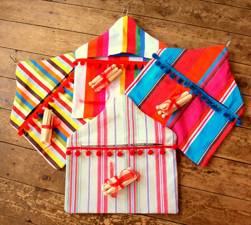 Our colourful pegbags will brighten up any washing line