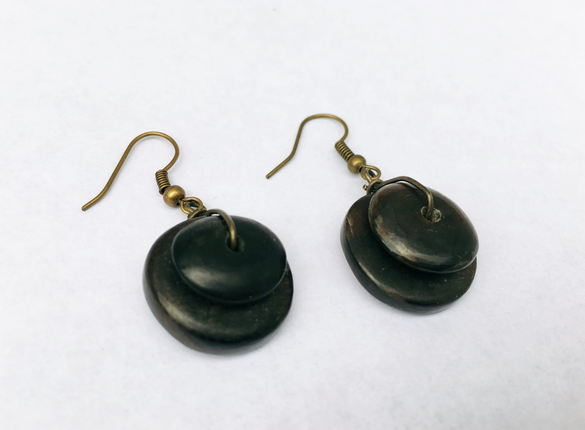 CARABALLA NO. 1 EARRINGS - HAndmade using beads derived from the horn of a carabao (Philippine water buffalo).