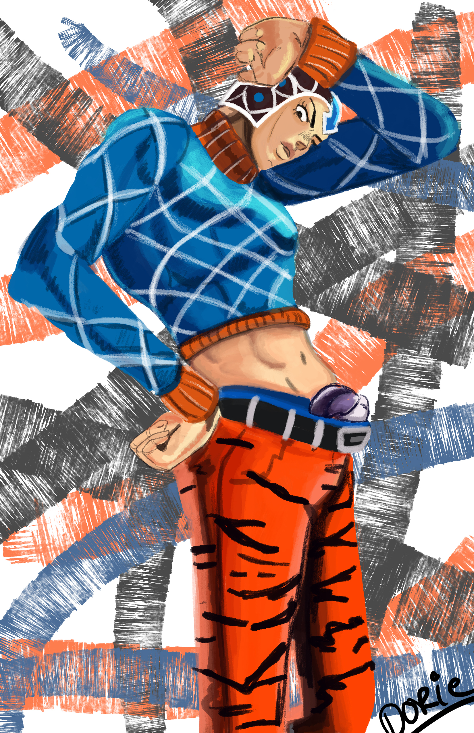 BEST PIECE SO FAR - Here is a portrait I did of Mista Guido from JoJo's Bizarre Adventure which the server is based off.