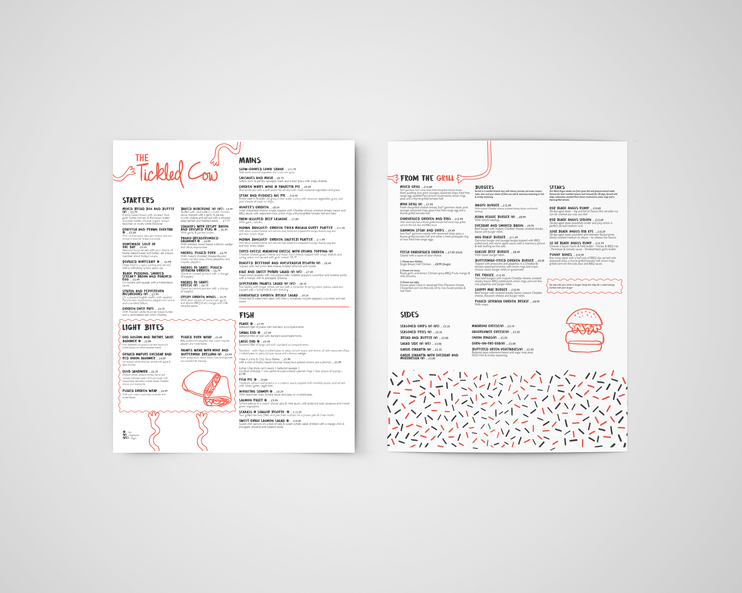 The Tickled Cow  _____  This brief focussed on a new Soho restaurant launch. A Full identity was created focusing on menu design and branding. The brand image has been thoughtfully considered to portray a fun and playfulness to avoid the cliché approach many bar and grill restaurants fall into.
