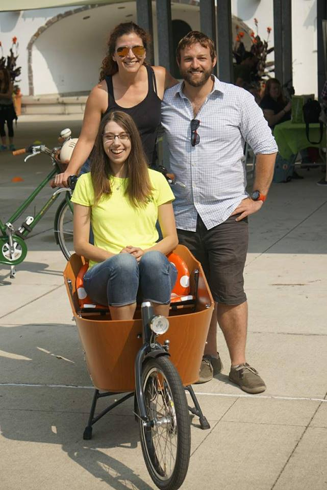 Joy (in the box) with myself and Caroline at Bikes n Brains 2017.