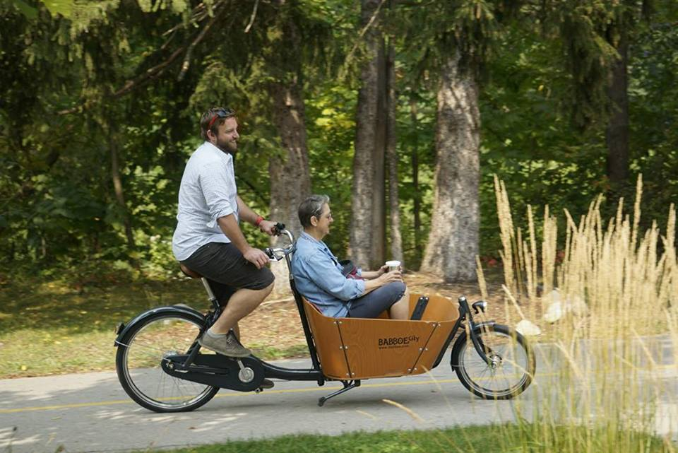 A ride in the cargo bike with my mom!