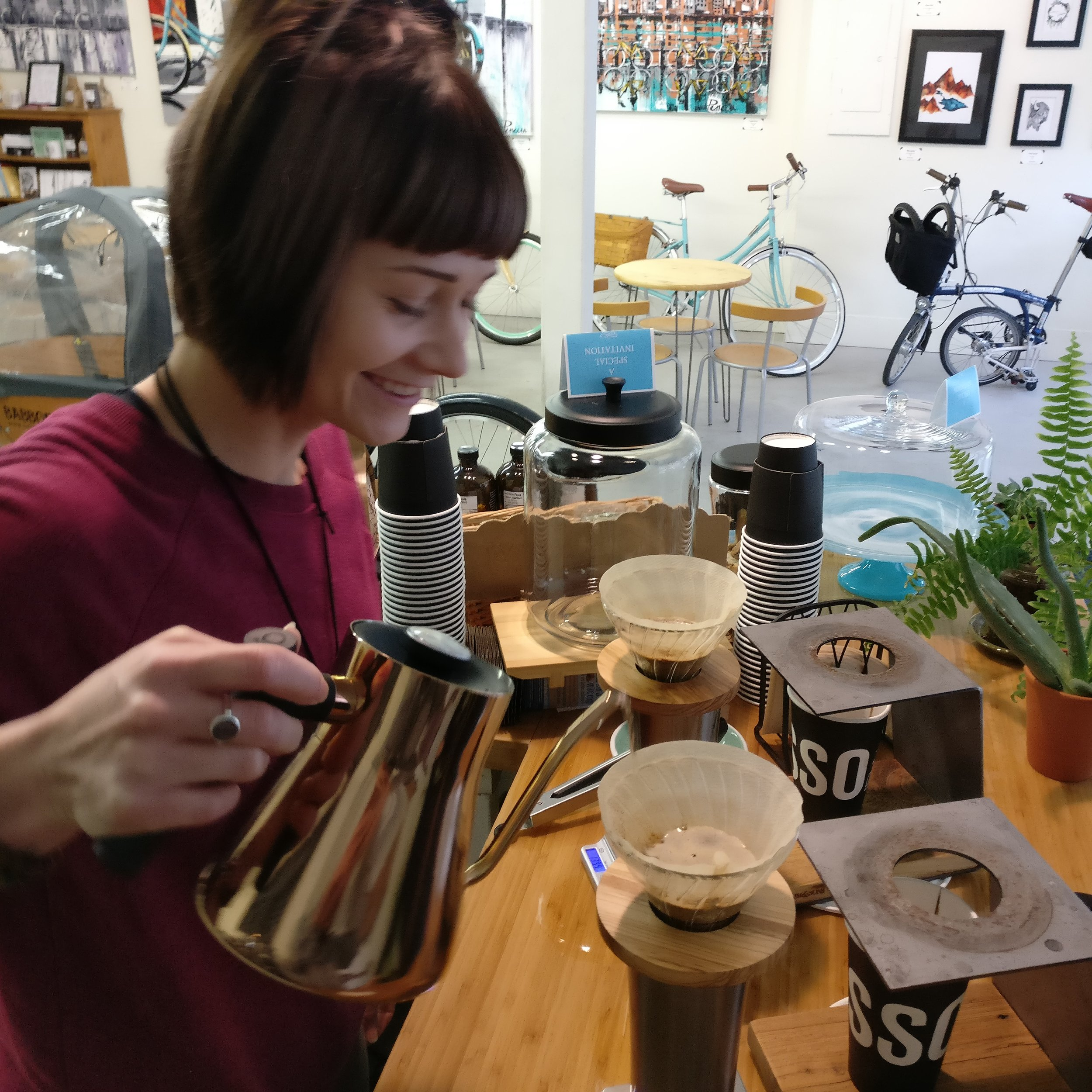 Jenn crafting a perfect Pour Over coffee.