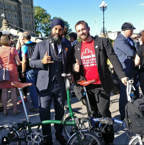 NDP leader Jagmeet Sign and I share a bit of love for our Bromptons.
