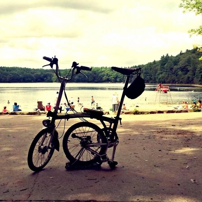 My Brompton at Walden Pond, Massachussetts.