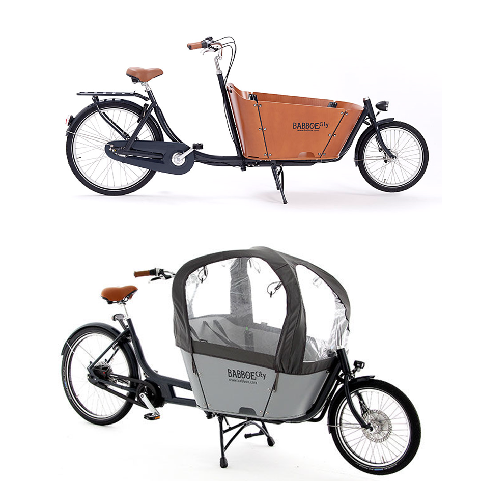 Babboe City - $3200 (acoustic) || $6999 ('Mountain' electric)   The Babboe City is an agile urban transportation solution. The City is big enough to carry up to four small children, or a week's worth of groceries for a family of five. It gives a smooth and comfortable ride, even when loaded, and is nimble enough to navigate downtown streets with ease. Most importantly, kids love riding in the front box, and parents love seeing their kids having fun!  The Babboe City Mountain is driven by a Yamaha mid-drive motor with force sensor and has a Nuvinci stepless shifting system. This combination offers a smooth cycling experience! Agile, fast and light. Its slender design makes this cargo bike very practical on busier roads.  We think of this bike like an urban canoe. Gorgeous, timeless, efficient.  Financing available from $87 / $188 per month