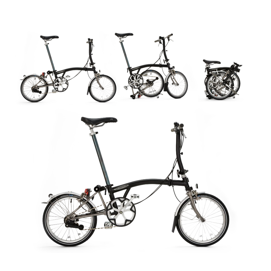 Brompton Folding Bicycle    There is only one way to experience the magic of a Brompton - come try one in our store! Your Brompton is your travel companion, every day city bike, and your special way to make your commute a little brighter.  Brompton is changing how people experience cities, and travel around the world. Lightweight and durable, with a simple folding mechanism, this bike is designed for your lifestyle. Folded, it fits under your desk, or in a closet, making bike theft a concern of the past. Take it with you in your car's trunk, on a boat, or an airplane; Brompton will become your essential travel companion. Come see us today to learn about the world's best folding bicycle.