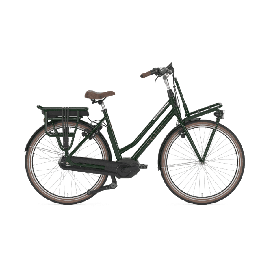 Gazelle NL - $3900   The fashionable e-bike you want to be seen on is now even better. The mid drive Bosch Performance Line motor makes the GazelleNL even more stable and powerful. It means you outshine everyone: in town, up a hill or on the way to work.  The NL is a workhorse for cargo, with its sizeable front rack, and perfectly balanced frame, it can help move you, your belongings, and your family with ease!   Financing as low as $49/biweekly