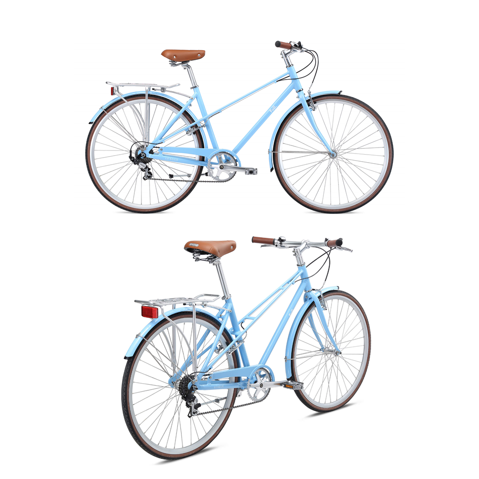 """Fuji League - $625 (from $750)     Mixte  (pronounced [mikst])  is a direct appropriation of the French word meaning """"mixed"""" or """"unisex"""".  The Fuji League is built around an aluminium alloy Mixte frame. It's lightweight, smooth rolling, and will WOW everyone with its clean lines. Perfect for everyday transportation, or Sunday rides on the TVP! Lights, fenders, kickstand, bell, and rear rack included!  Availability:  Small x 1 Medium x1"""