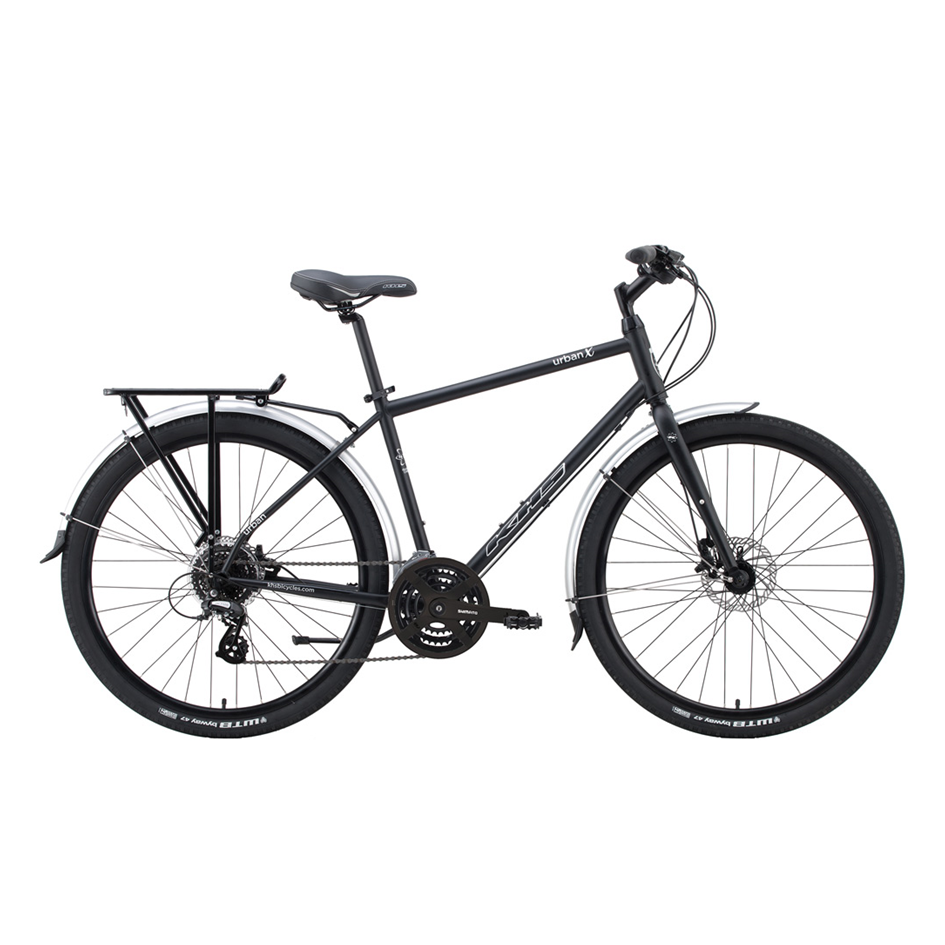 """KHS Urban X - $685 (reg. $850)   This bike gives great value for your everyday ride. The Urban X is a fierce all-conditions bike for your everyday commute. It comes equipped with mid-sized 27.5"""" wheels, chromoly steel frame, battery lights, fenders, kickstand, wide-range gear system, and hydraulic disc brakes. It's the perfect """"no fuss"""" four-season ride that will keep your wheels turning all year round.   Availability:  1 x Medium"""