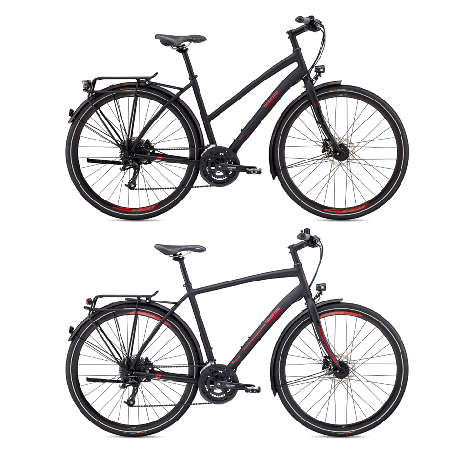 """Breezer Liberty R 1.3+ - ON SALE! $1300 (was $1650) M/L roadster remaining.   Our most fully-featured """"do-it-all"""" bike. Liberty is built on a light and durable aluminum frame, with high quality Shimano XT and Deore drivetrain components, and tons of extras. Each Liberty comes equipped with a rear rack, integrated dynamo lighting system, kickstand, and bell. Each Breezer Liberty is designed to tackle hills, gravel paths, and long distances, on or off-road, providing a confidence inspiring ride that will make you want to spend more time in the saddle ticking off the miles.   Availability:  1 x Medium (high crossbar) 1 x Large (high crossbar)"""