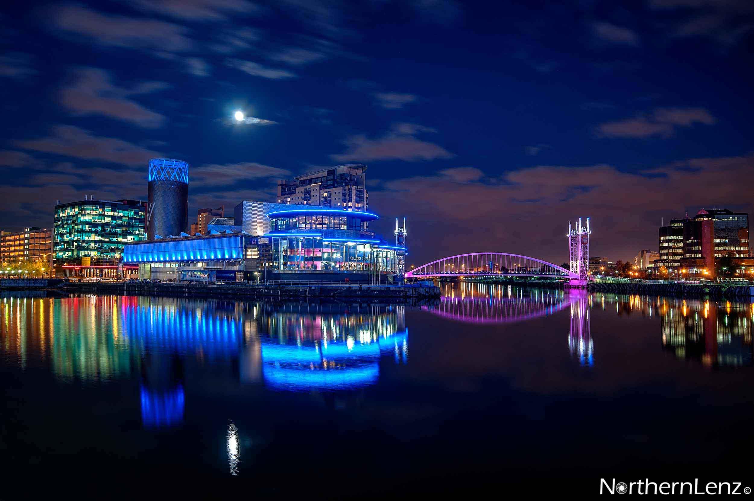 Moonlight over Media City, Salford  Image Ref: UA06