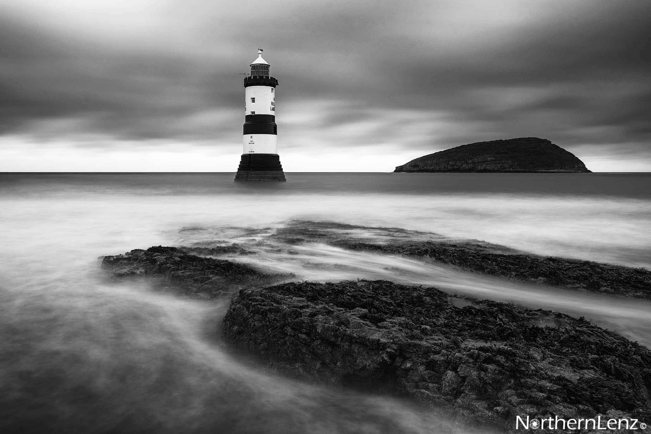 Timeless mono shot of Trwyn Du Lighthouse  Image Ref: CC08