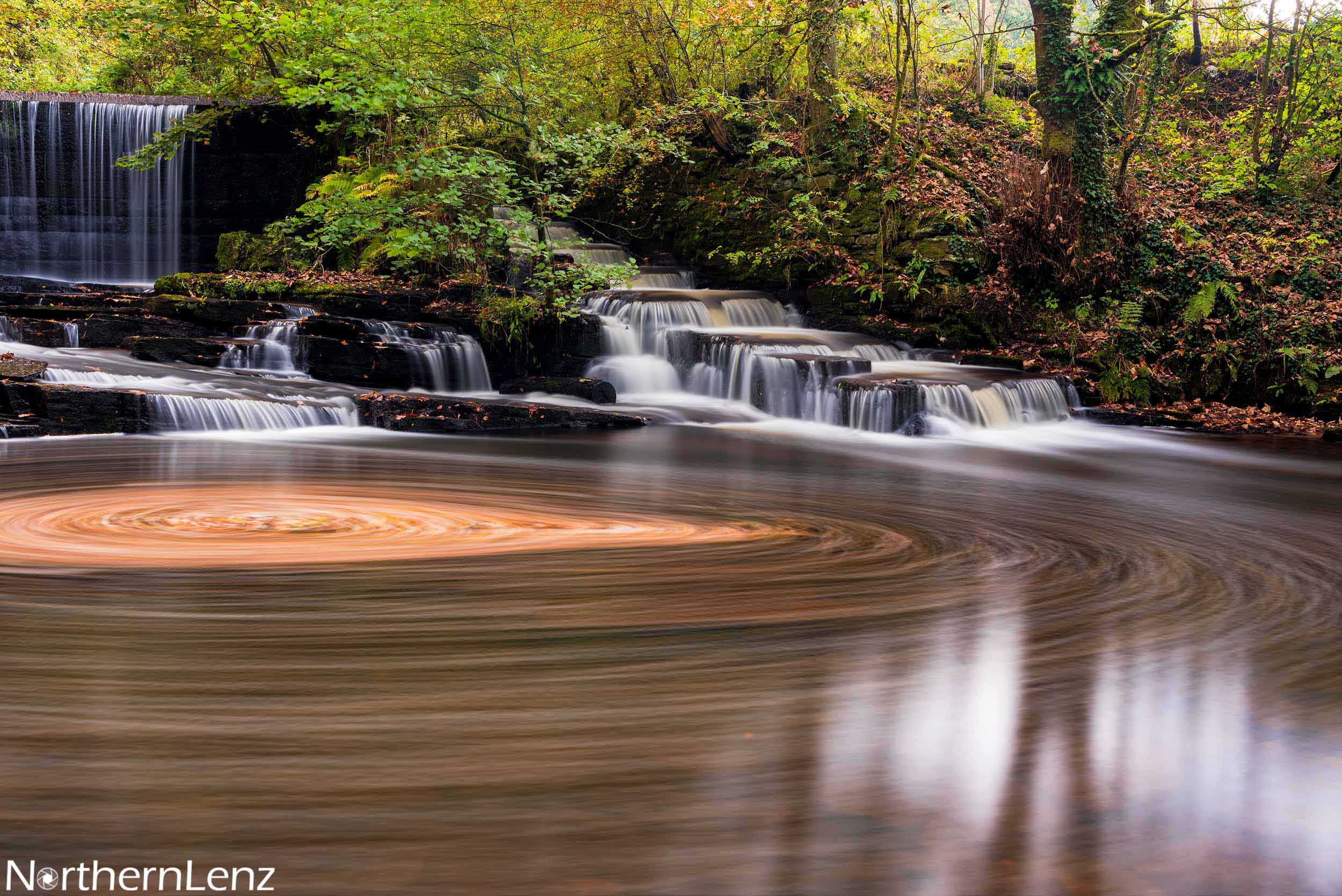 Autumnal swirls at Yarrow Valley weir and fish ladder  Image Ref: WW08