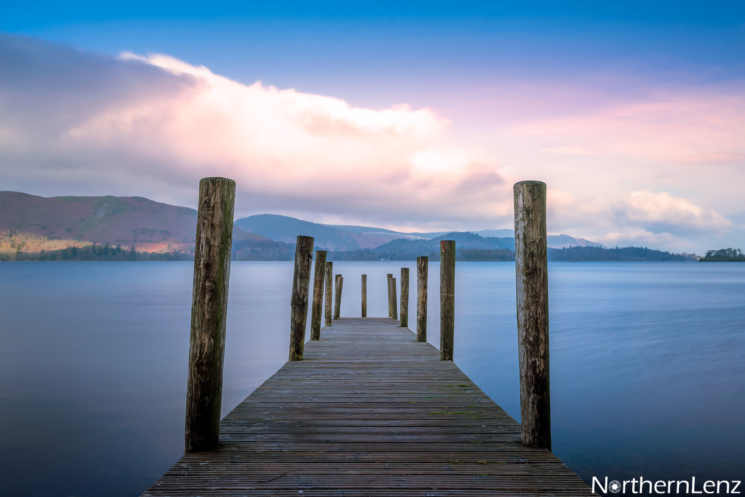 Pastel colours overlook Ashness Jetty, Derwentwater in the Lake District  Image Ref: WW10