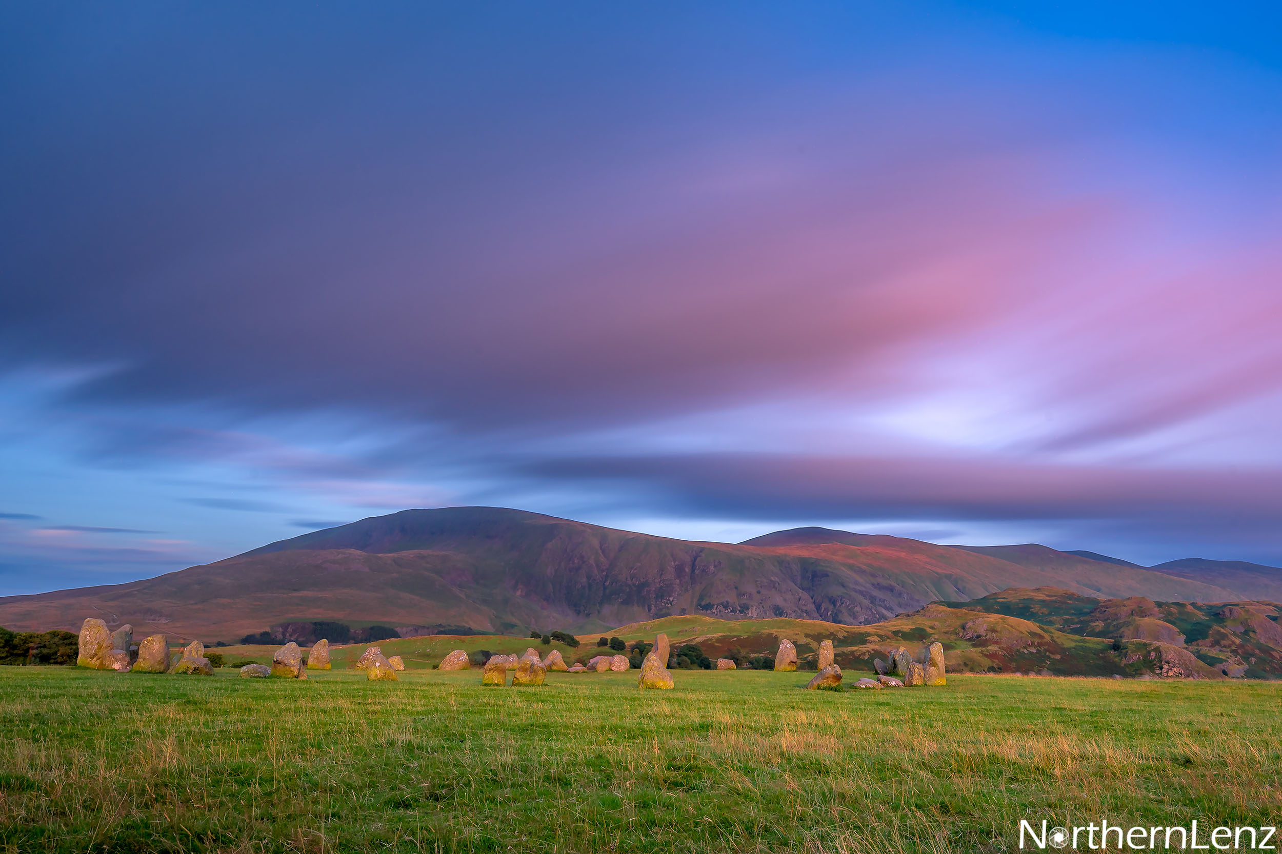 Castlerigg Stone Circle, a neolithic monument just outside Keswick bathed in beautiful light at sunset  Image Ref: LD12