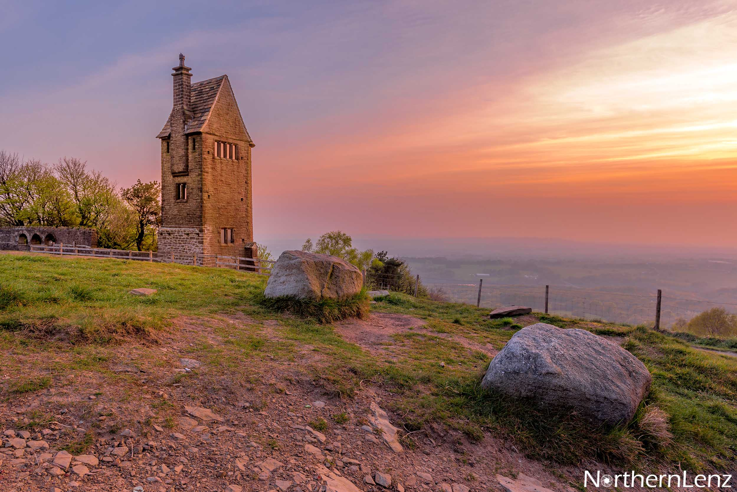 The Pigeon Tower at Rivington basking in a spring sunrise  Image Ref: LD07