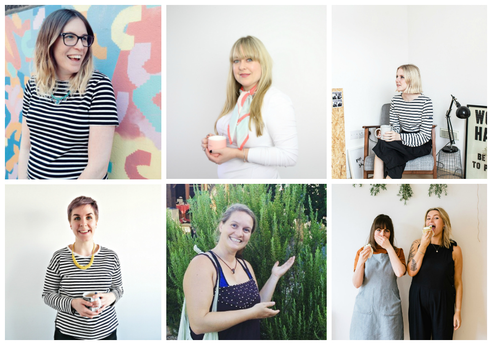 Our amazing coaches - top l -clockwise -  Claire Culley , The Thrive Mama.  Els Pontin , Creative Coach.  Lola Hoad , OGB founder and coach.  Planted , Gabriella & Molly of Planted the YBF nominated vegan cooks.  Alice Bettany , Sacred Seeds herbalist.  Amy Phipps , founder of the WWC community & events.