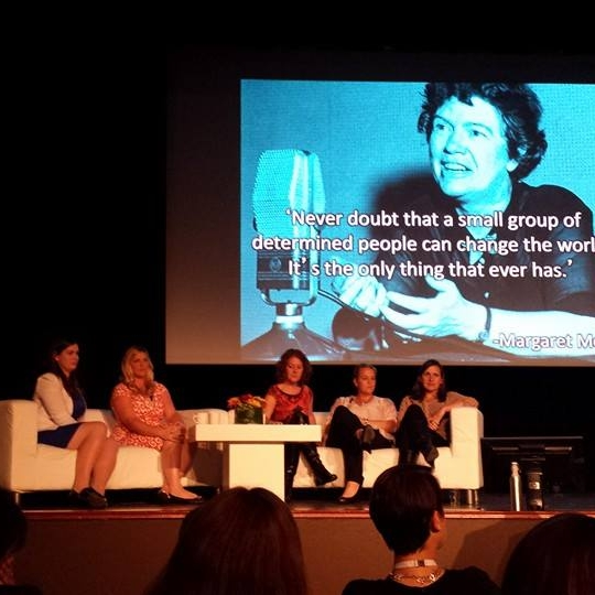 women who create uk interviews with lucy gower speaking at an event