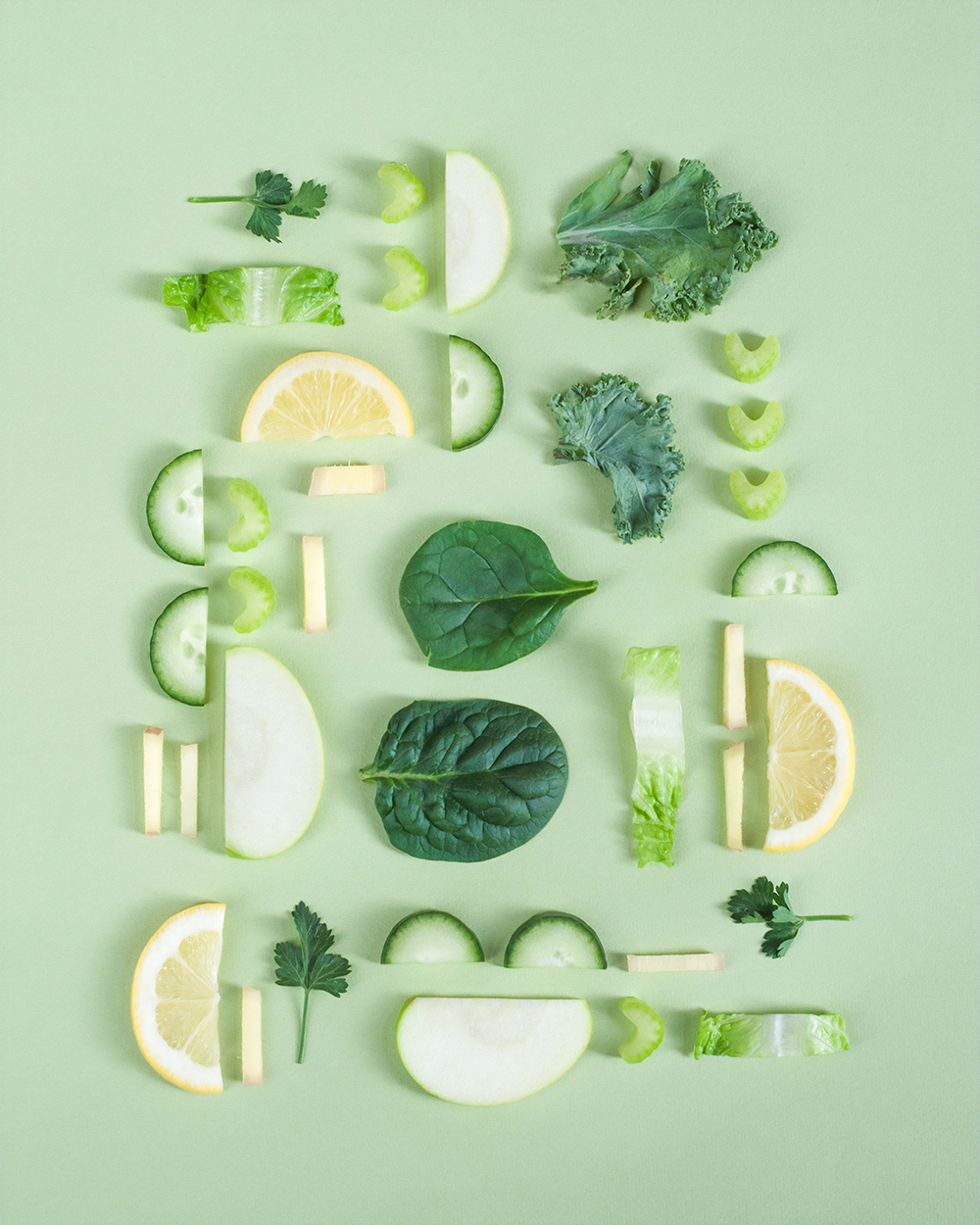green juice ingredients flat lay