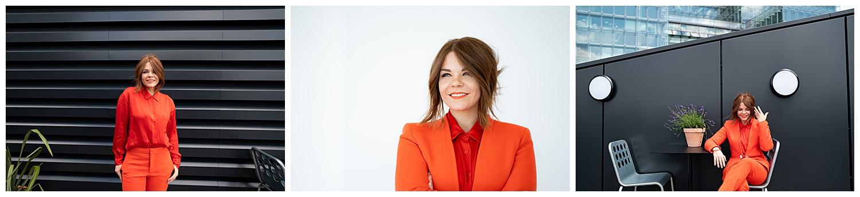 sara dalrymple photo of women in orange suit against black wall