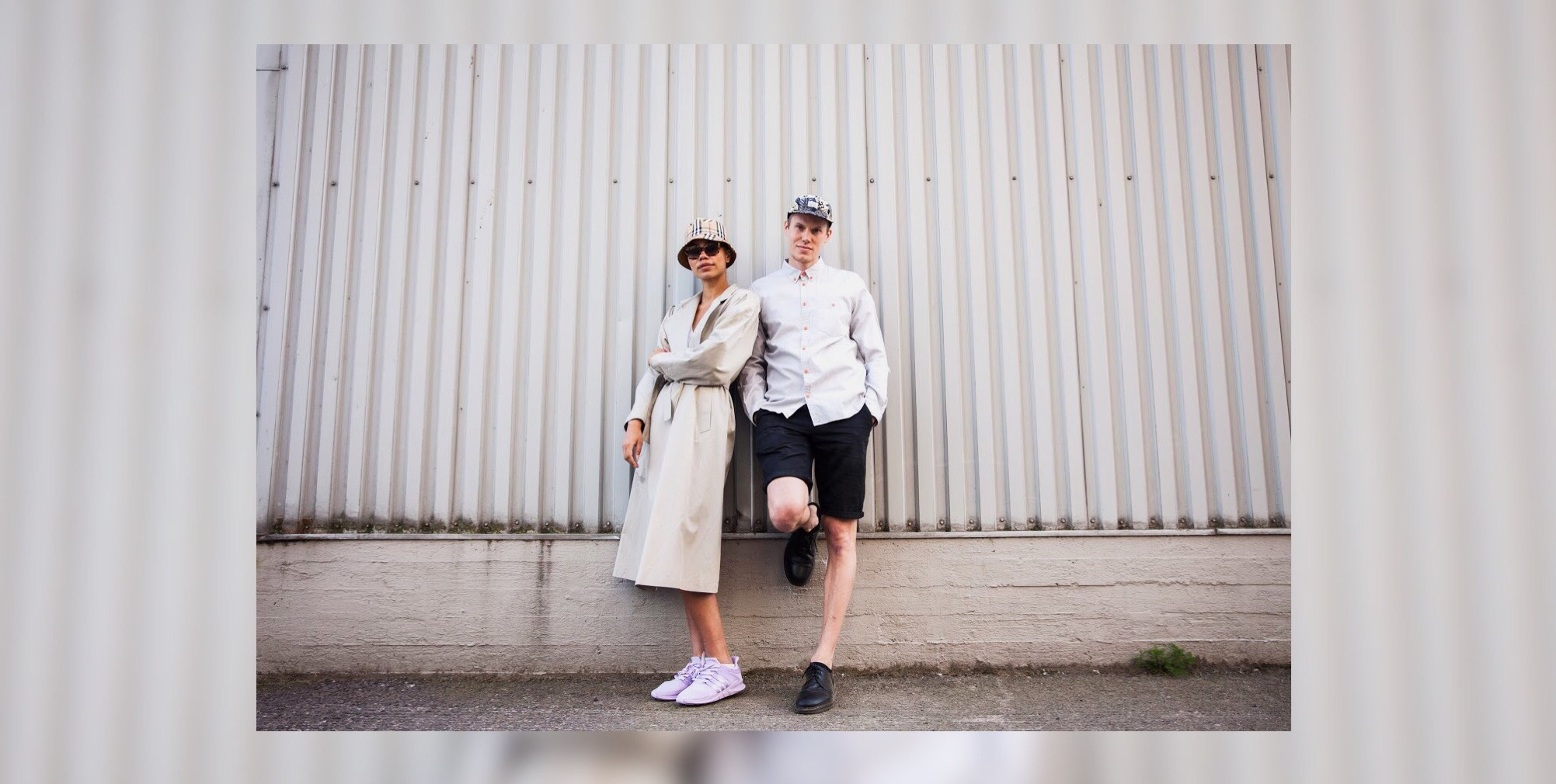 Jessica Benissan and Lauri Hirvonen rocking outfits completely made from pieces found in BSH Helsinki.