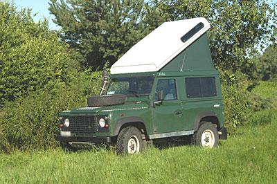 Die frühere Variante des Ex-Tec Hubdachs für den Defender 90