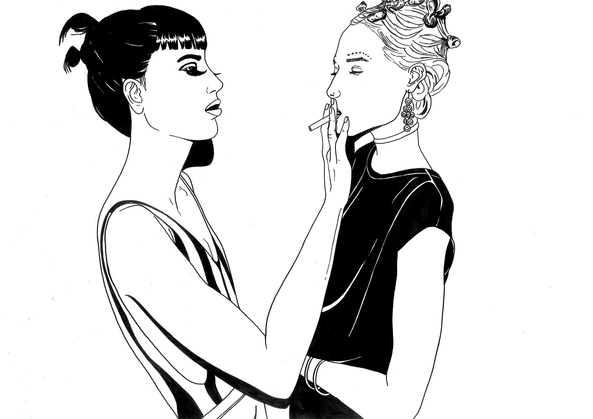Two girls one ciggy  Illustration