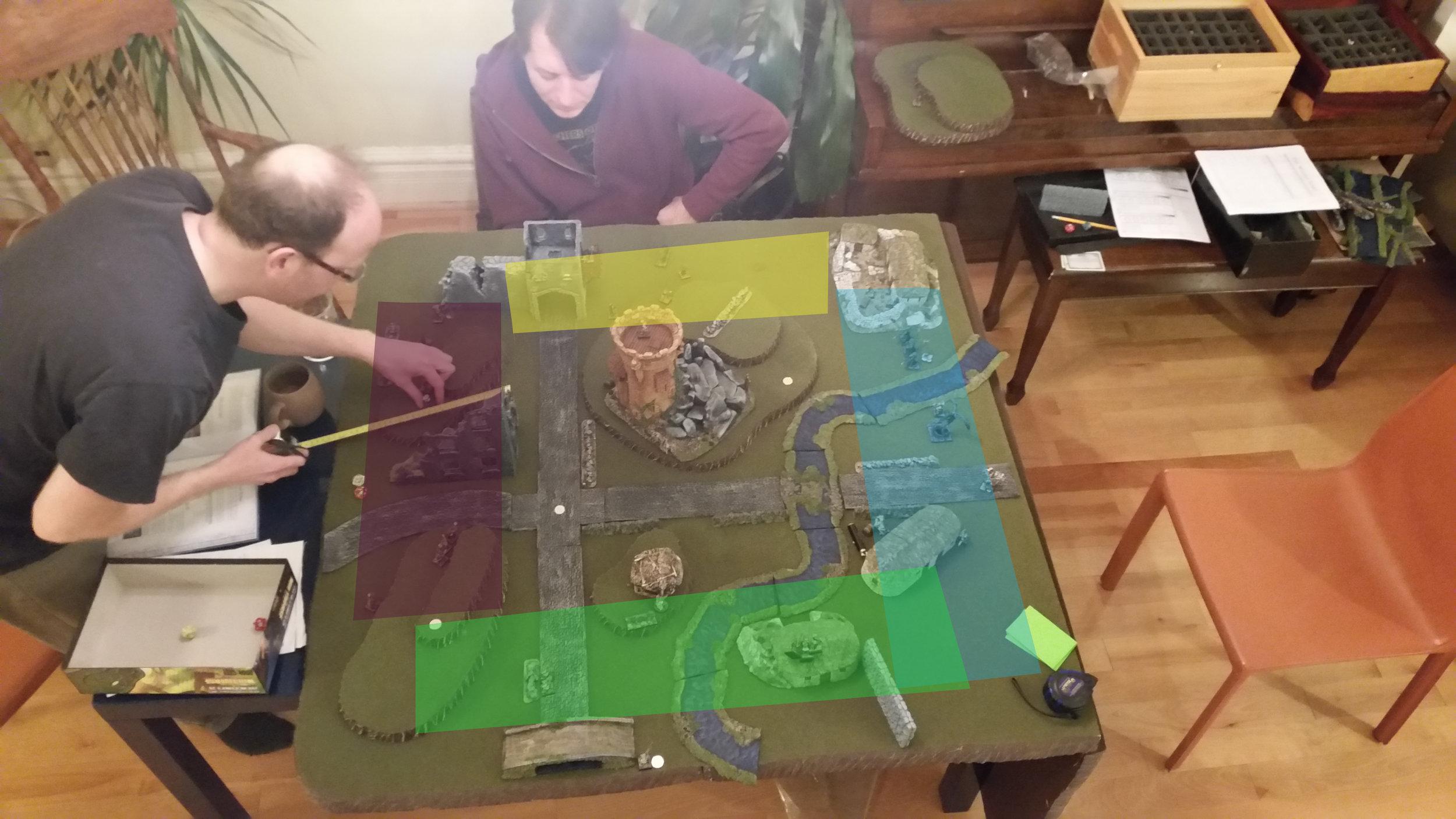 Deployment Zones: Purple - Liche Master, Yellow - Illusionist, Blue - Elementalist, Green - Witch