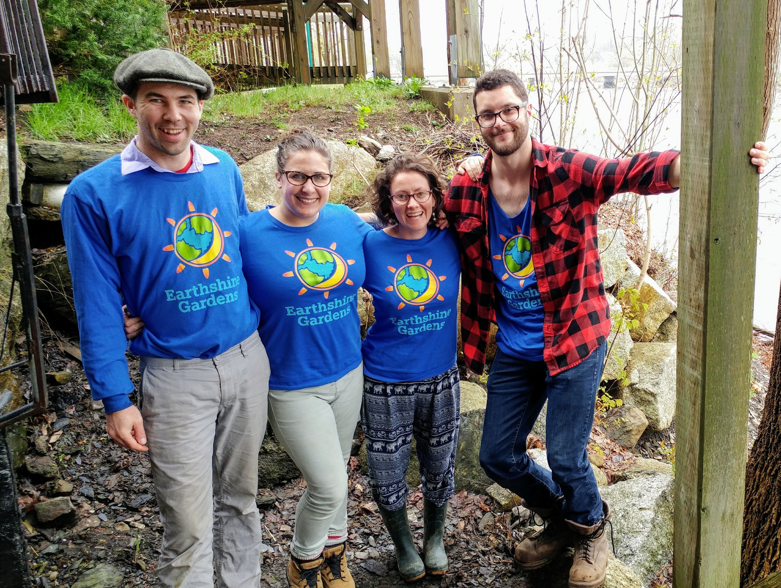 Earthshine Gardens '  staff team  (from left)  Guy Doucette ,  Caitlin Doucette , Laura Besaw and  Garett Schwartz .