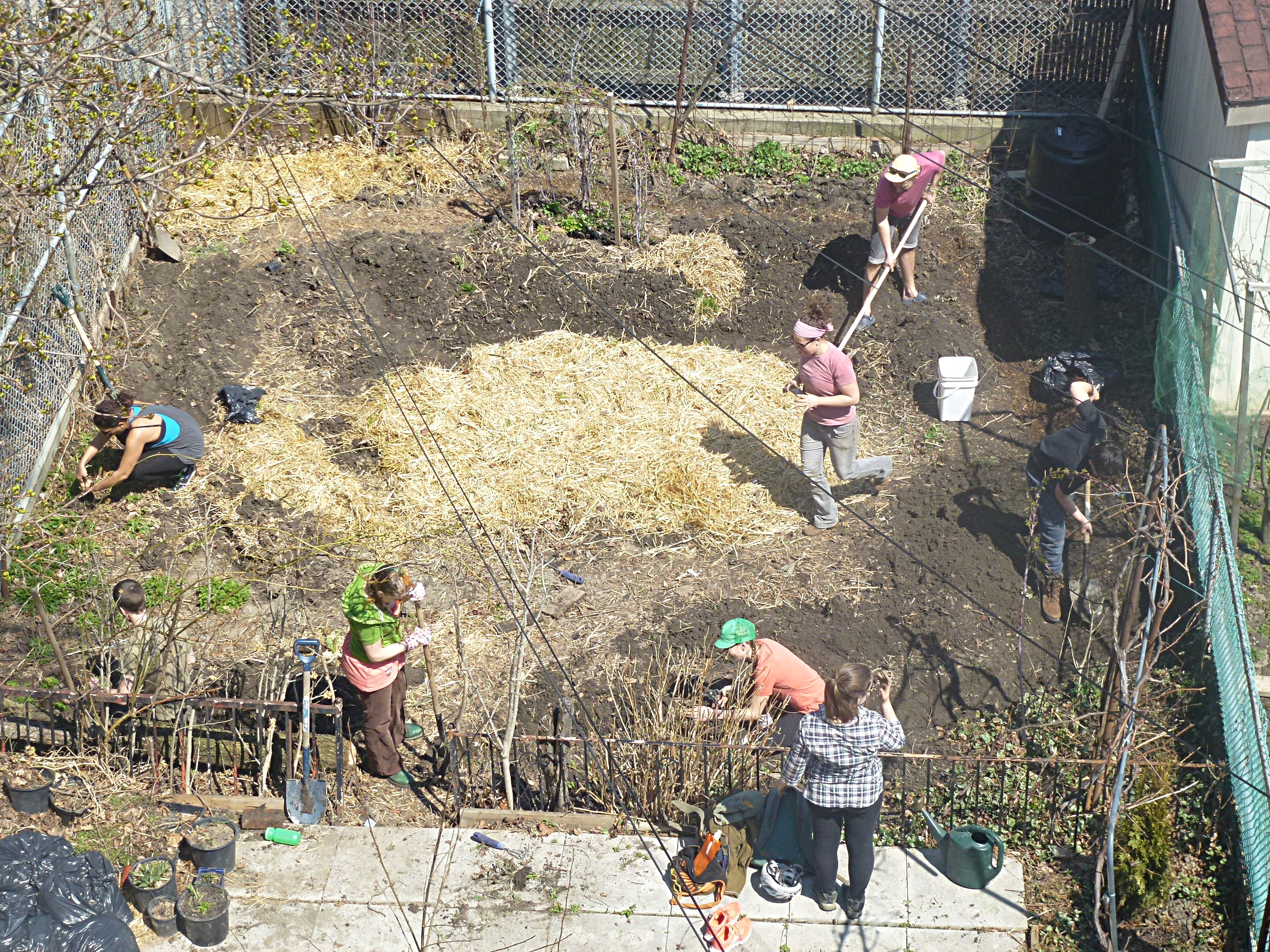 Caitlin works with volunteers to prepare a  mandala garden  for spring planting   (Sage Rising, 2014).